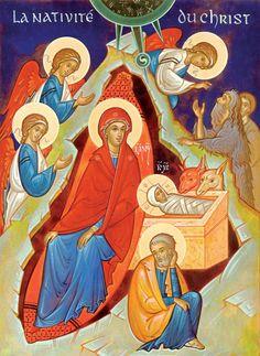 The Nativity contemporary icon by Irina Gorbunova-Lomax of Belgium
