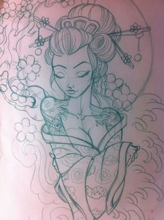 geisha sketch | Japanese geisha sketch by ~5stardesigns on deviantART Schönes Tattoo Motiv