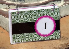 Laminated binder 4 x 6 GREEN DAMASK Personalized by PaperShay, $8.00