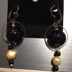 Copper Dangle W/ Black Onyx & Pearl from The Candy Box LLC for $25.00 on Square Market