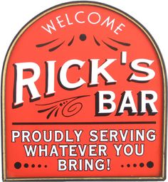 35 Awesome Man Cave Signs | All Gifts Considered. Red home bar personalized plaque. Great Christmas Man Cave Gift!