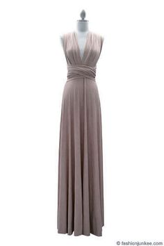 Multi Way Covertible Maxi Full Length Bridesmaid Dress-Taupe