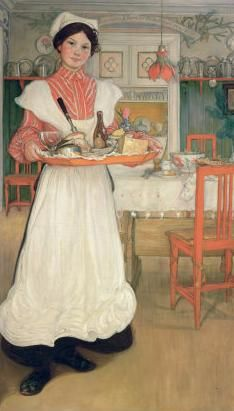 Martina Carrying Breakfast on a Tray, 1904 Giclee Print by Carl Larsson Carl Larsson, Swedish Style, Swedish Design, Scandinavian Art, Nordic Art, Scandinavian Countries, Art Graphique, Arts And Crafts Movement, Museum Of Fine Arts