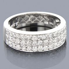 men's 3-row wedding band in white gold