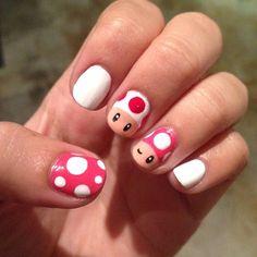 Mario Mushroom Nails