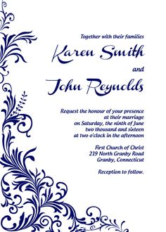 Best Wedding Invitation Templates Free To Print Images On - Wedding reception invitation templates free download