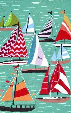 colourful sail boats graphic - Google Search