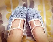 Hand crochet t strap slippers, Vintage style light blue slippers , gold heart button shoe ,  CUSTOMIZE adult house shoe
