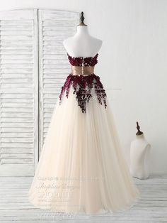 Burgundy Bridesmaid Dresses, Prom Dresses 2018, Lace Applique, Fashion Outfits, Fashion Clothes, Ball Gowns, Tulle, Clothes Women, Cloths