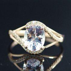 7x9mm Oval Morganite Diamond Wedding Ring in 14K Solid Gold,Splite Shank Ring Morganite Engagement Ring - Vogue Gem