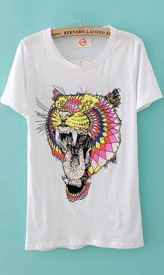 Tiger's head print T-shirt X809 White