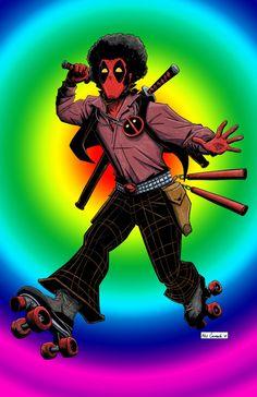 #Deadpool #Fan #Art. (Disco Deadpool poster) By:AlexCormack. (THE * 5 * STÅR * ÅWARD * OF: * AW YEAH, IT'S MAJOR ÅWESOMENESS!!!™) [THANK U 4 PINNING!!!<·><]<©>ÅÅÅ+(OB4E)