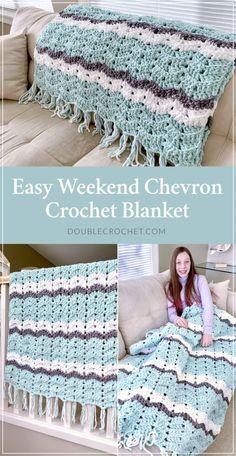 Easy Weekend Chevron Crochet Blanket Pattern - Double Crochet Easy Weekend Chevron Crochet Blanket Pattern The chevron crochet blanket, often called the ripple crochet blanket, is one of the classic crochet patterns that… Crochet Ripple Blanket, Crochet Afghans, Afghan Crochet Patterns, Simple Crochet Patterns, Chevron Crochet Blanket Pattern Baby, Easy Blanket Knitting Patterns, Crotchet Blanket, Crochet Blanket Tutorial, Crochet Throws