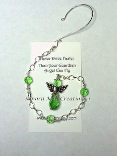 Green Crystal Guardian Angel Car Charm or by SonoraKayCreations, $20.00
