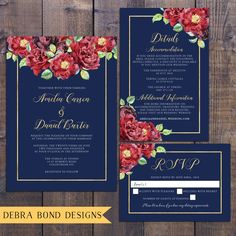 Wedding suite, wedding invitation, navy blue, gold, marsala burgundy red roses, floral, details information card, RSVP, digital printable