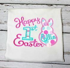 First Easter T shirt Bodysuit,Girls First Easter Shirt,Appliqué Embroidered