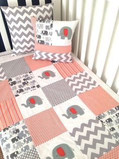 Elephants if it's a boy.   Elephant  Baby  Crib Quilt and Pillow in Orange by AlphabetMonkey, $195.00