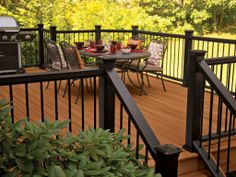The deck railing style you selected for your new deck is the piece de resistance of the task. Safety is the useful consideration behind the setup of railings, and you need to additionally . Read Best Deck Railing Styles Ideas and Installation Guide Deck Stain Colors, Deck Colors, Grey Deck Stain, House Deck, Up House, Dark Deck, Metal Balusters, Deck Railings, Hand Railing