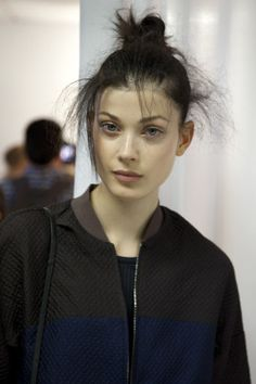 3.1 Phillip Lim Spring 2015   Backstage Beauty   Messy hair. Natural makeup.