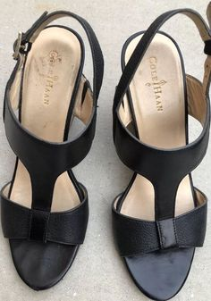 81483e660458 Cole Haan Black Leather Ankle Strap High Wedge Heel Open Toe Sandals Size 6   ColeHaan  AnkleStrap  Casual