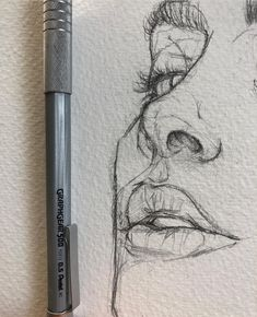 Love the rawness of ghis illustration sketches, drawing sketches, portrait sketches, sketch art Portrait Au Crayon, Pencil Portrait, Portrait Art, Pencil Art Drawings, Cool Drawings, Drawing Faces, Realistic Drawings, Nose Drawing, Drawing People Faces