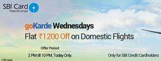 Goibibo GOKARDE Offer  Get Rs.1200 Cashback On domestic Flights Booking