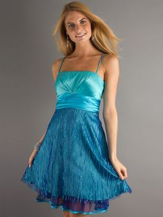 Short Spaghetti Strap Dress with Sequin Detail On Skirt With Tied Waistline