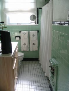 1938 black-and-green tile bathroom - AS A REMINDER OF WHERE YOU'VE COME FROM, THIS IS exact tile  color of my 1946 bathroom only I had neon pink toilet, tub, sink, shower AND FLAT NEON PINK WALLS!
