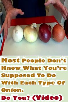 Most people don't know what you're supposed to do with each type of onion. (Video) - Healthy Tip Hero Types Of Onions, Food Facts, Baking Tips, Fruits And Veggies, No Cook Meals, Vegetable Recipes, Tricks, Cooking Recipes, Cooking Hacks