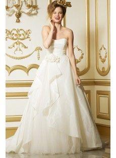 Classic Timeless Strapless Chapel Train Taffeta A Line Wedding Dress