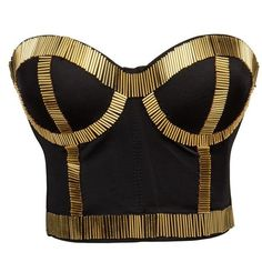 BSLINGERIE Madonna Style Metallic Studs Bustier Bra Corset Top ($25) ❤ liked on Polyvore featuring tops, bustiers, shirts, corset tops, bustier corset tops, bustier tops, corsette tops and bustier shirt