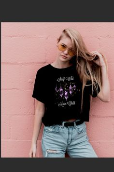 Kids Shirts, T Shirts For Women, Clothes For Women, Grunge Accessories, Gothic Shirts, Stay Wild Moon Child, Love Fashion, Gothic Fashion, Halloween Shirt
