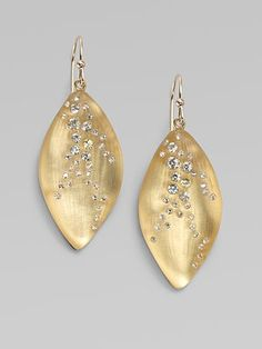 Alexis Bittar Swarovski Crystal Accented Lucite Leaf Drop Earrings