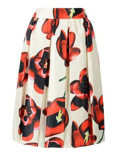 Beige Elastic Waist Midi Skirt With Red Floral Print