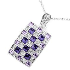 Pugster Rectangle Tanzanite Violet Swarovski Crystal Square Pendant Necklace For Women Pugster. $36.99. Color: Silver Tone, clear, tanzanite, violet. Weight (gram): 15.8. Size (mm): 21.4*5.69*42.04. Metal: Metal, crystal