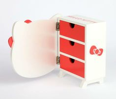 Hello Kitty Die-Cut 3 Drawer Wooden Chest: Pearl
