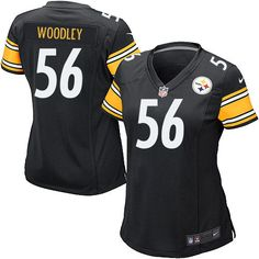 Nike Game Womens Pittsburgh Steelers #56 LaMarr Woodley Team Color Black NFL Jersey$69.99