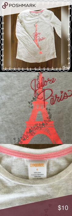 Gymboree Paris long sleeve tee 100% cotton. Long sleeve. Pre loved EUC. Original owner. Always hung dry when laundered. From smoke free home 💕 Gymboree Shirts & Tops Tees - Long Sleeve