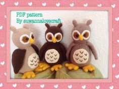 sweet owl crochet pattern by suwannacraftshop on Etsy