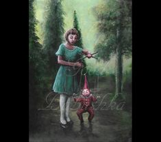 The Red Puppet, Original Painting, Forest, Surrealism, Child, Toy, Fairy Tale, Folk Tale, Woods, Mystery, Macabre Art, Dark Art, Marionette by mygoodbabushka on Etsy