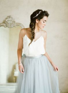 Stunning chiffon blue skirt + dress combo: http://www.stylemepretty.com/2016/01/22/elegant-ethereal-wedding-inspiration-bel-aire-bridal-giveaway/ | Photography: KT Merry - http://www.ktmerry.com/:
