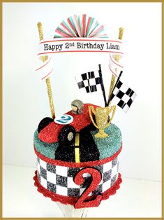 """Vintage Race Car"" Birthday Cake Topper, Centerpiece, Keepsake Box Image"
