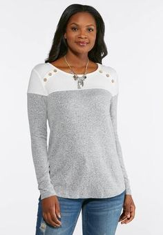 43e1e5882dc454 Button Shoulder Hacci Top Tees   Amp   Knit Tops Cato Fashions