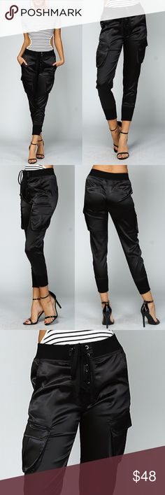 🆕HAILEE satin joggers - BLACK Silky smooth satin joggers w/ pockets.  How fun are these joggers! lace up detail for the front of pants.    🚨🚨NO TRADE, PRICE FIRM🚨🚨 Bellanblue Pants Track Pants & Joggers