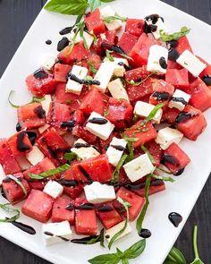 Grilled Watermelon Feta Basil Salad