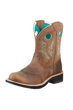 Ariat Boots Women's Brown & Turquoise Fatbaby Cowgirl Boots