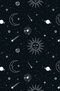 This starry, celestial pattern set consists of 12 seamless vector patterns that were made with elements from my Stars & Celestial Bodies Graphic Pack: . Black Phone Wallpaper, Cute Emoji Wallpaper, Homescreen Wallpaper, Iphone Background Wallpaper, Tumblr Wallpaper, Aesthetic Iphone Wallpaper, Galaxy Wallpaper, Aesthetic Wallpapers, Witchy Wallpaper