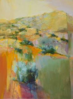 "Daily Painters Abstract Gallery: Abstract Landscape Painting ""Beyond the Mesa"" by Intuitive Artist Joan Fullerton"