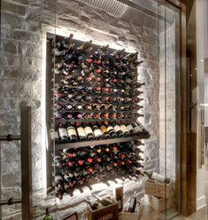 Modern Wine Cellar With Stone Wall And LED Backlighting To Make A Real  Display Of Your