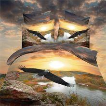 Realistische 3d ozean vogel baumwolle bettwäsche set 4 stücke queen-size bettbezug bettlaken kissenbezüge enthalten/braun(China (Mainland))